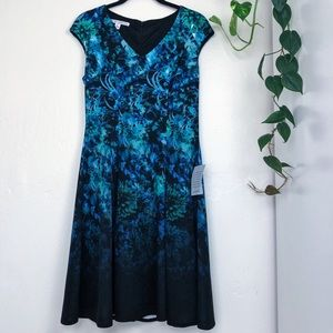 Maggy London Floral Fade Midi Dress Size 2 Blue